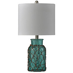Blue Seeded Glass Netted Jar Table Lamp