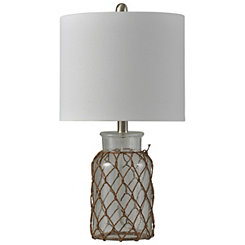 Clear Seeded Glass Netted Jar Table Lamp