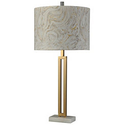 Gold Plated Table Lamp with Marbled Shade