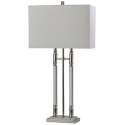 Triple Column Crystal and Steel Table Lamp