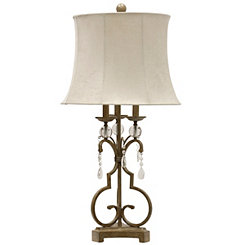 Gold Scrolled Candlestick Table Lamp