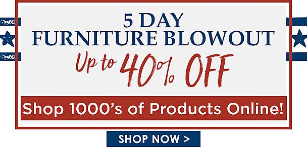 5 Day Furniture Blowout Up to 40% Off - Shop Now