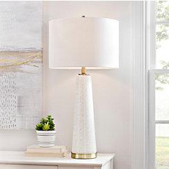 Tasia White Glass Table Lamp