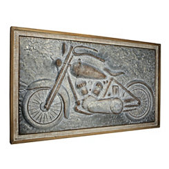 Metal Motorcycle Wood Framed Wall Plaque