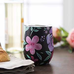 Black Floral Metal Stemless Wine Tumbler