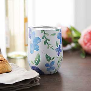 White Floral Metal Stemless Wine Tumbler