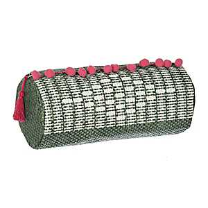 Woven Textured Cosmetic Bag with Pom Poms