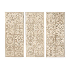 Eliza Wood Carved Wall Plaques, Set of 3
