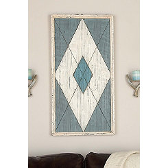 Turquoise Diamond Framed Wood Wall Plaque