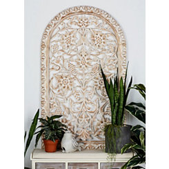 Rebecca Intricate Wood Carved Panel Wall Plaque