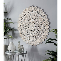 Riley Intricate Wood Carved Floral Wall Plaque