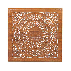 Riley Wood Carved Burnt Finish Wall Plaque