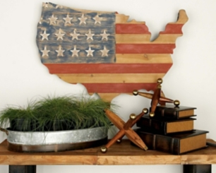 Wood and Metal American Flag and Map Wall Plaque