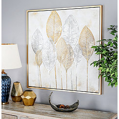 Gold Leaves Framed Canvas Art Print
