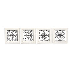 Lacey Wood and Metal Plaques, Set of 4