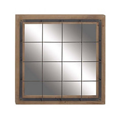 Wood and Metal Windowpane Wall Mirror