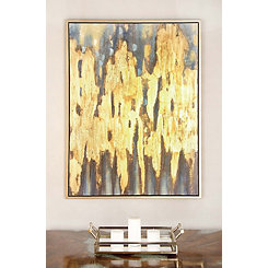 Blue and Gold Abstract Framed Canvas Art Print