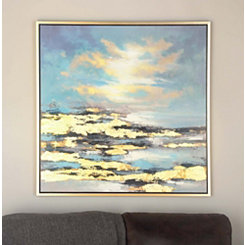 Coastal Cloud Abstract Framed Canvas Art Print