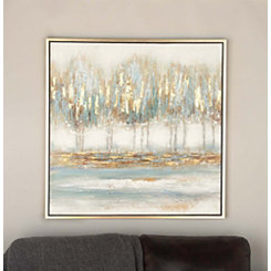 Blue Abstract Trees Framed Canvas Art Print