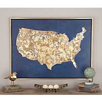 Indigo and Gold United States Framed Canvas Print