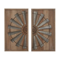 Windmill Panel Framed Wall Plaques, Set of 2