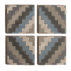 Lexie Zipper Framed Wood Wall Plaques, Set of 4