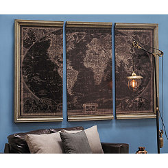 World Map Framed Wooden Wall Plaques, Set of 3