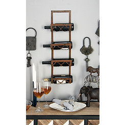 Rustic Metal Wall Mounted Wine Rack