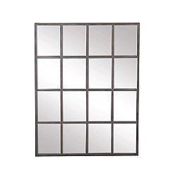 Metal Windowpane Wall Mirror