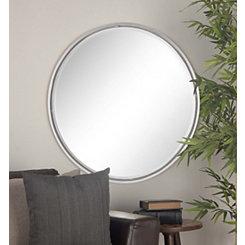 Sleek Round Metal Wall Mirror