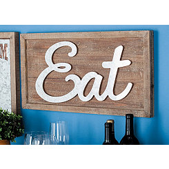Eat Wood and Metal Wall Plaque
