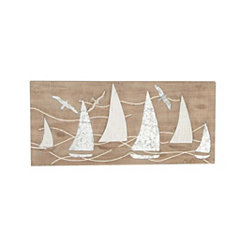 Sailboats Wood and Metal Plaque