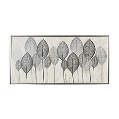 Silver Leaves Framed Canvas Art Print