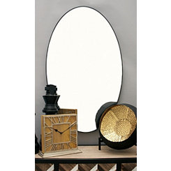 Black Wooden Oval Wall Mirror