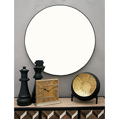 Black Wooden Round Wall Mirror