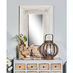 Vanessa White Wood Wall Mirror