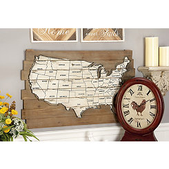 Wood and Metal Plank Distressed Map Wall Plaque