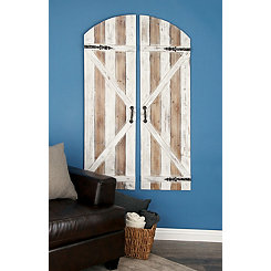 Wood and Metal Barn Door Wall Plaques, Set of 2