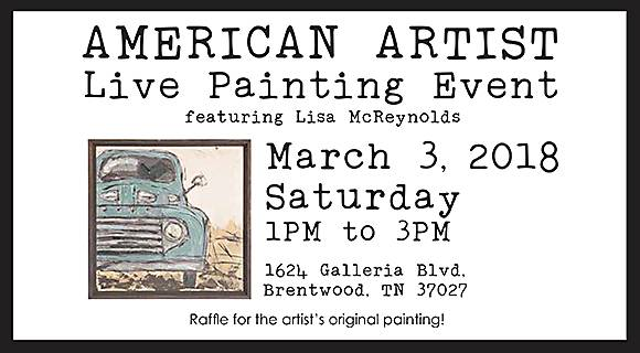 American Artist Live Painting Event Featuring Lisa McReynolds!