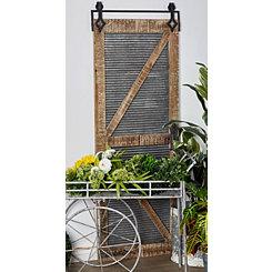 Wood and Galvanized Metal Door Panel Wall Plaque
