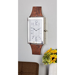 Wrist Watch Stainless Steel and Wood Wall Clock