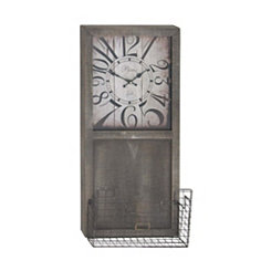 Rectangular Wood Wall Clock with Wire Basket