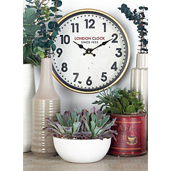 Laurie Gold and White Metal London Wall Clock
