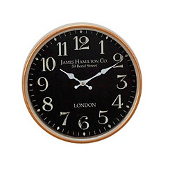 Lindy Gold and Black Metal London Wall Clock
