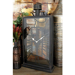 Rylan Black Metal and Glass Tabletop Clock