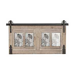 4-Opening Wood and Metal Barn Door Collage Frame