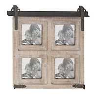 4-Opening Whitewash Barn Door Collage Frame