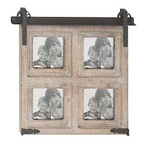 4-Opening Whitewash Barn Door Collage Frame