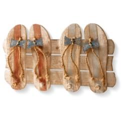 Flip Flop Wall Hooks Wood Plank Plaque