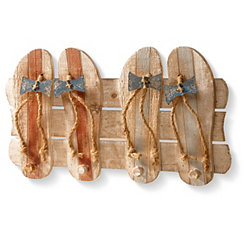 Flip Flop Wall Hooks Wood Plank Plaque